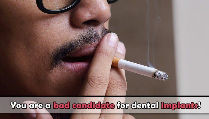 Smoking dental implants