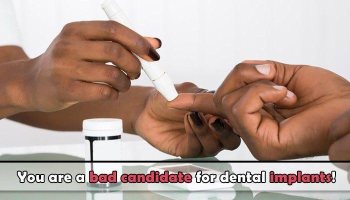 Uncontrolled diabetes dental implants